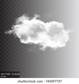 Vector cloud shape illustration, white fluffy cloud isolated over transparent background
