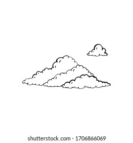 Vector cloud shapes collection. Hand draw illustration isolated on white background.