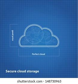 Vector cloud sketch with blueprint background. Cloud computing presentation.