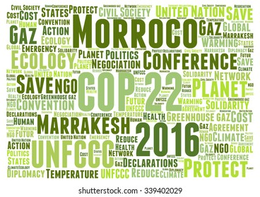 Vector of a cloud of words related to the COP 22 to be held in Marrakesh, Morroco, in 2016, about climate change and the fight against global warming.