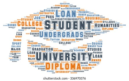 Vector of a cloud of words and tags related to the University in a shape of a graduation cap