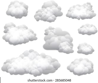 Vector Clouds - Clouds can be used on any color background.