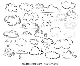 vector clouds doodle collection. weather forecast elements. hand drawn cartoon clouds.