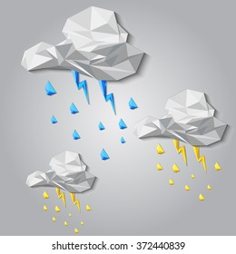 Vector clouds. Lightning and rain.Gray background