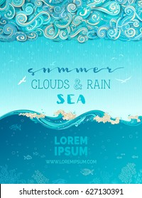 Vector clouds and sea background. Doodles clouds and rain, waves and underwater life. Hand-drawn swirls, spirals, drops, strokes and curls. There is copy space for your text in the sky and undersea.