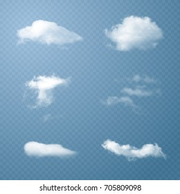 Vector Clouds. Set of Transparent Clouds. Texture of Clouds for Background. Vector Illustrations.