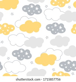 Vector clouds and stars seamless pattern. Cute clouds seamless pattern, cartoon background with star dots, vector illustration