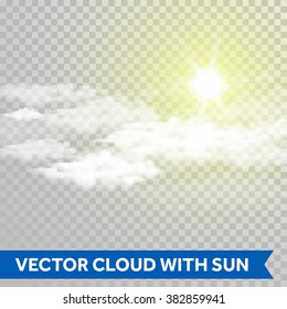 Vector clouds with sun on transparent background.
