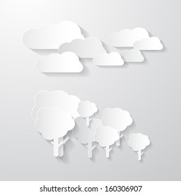 Vector Clouds and Trees Cut From Paper Background