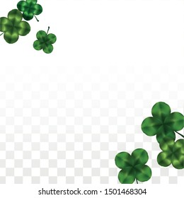 Vector Clover Leaf  Isolated on Transparent Background with Space for Text. St. Patrick's Day Illustration. Ireland's Lucky Shamrock Poster. Banner for Concert in Pub. Flatlay.  Success Symbols.