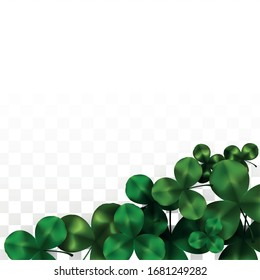 Vector Clover Leaf  Isolated on Transparent Background with Space for Text. St. Patrick's Day Illustration. Ireland's Lucky Shamrock Poster. Invintation for Concert in Pub. Flatlay.  Success Symbols.
