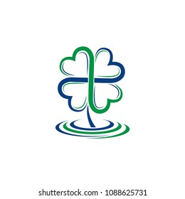 vector clover logo design. Clover vector template element. Business icon for a company isolated on white background. Happy St. Patrick's Day icon.