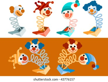 vector clowns popping out of boxes