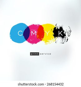 Vector CMYK drawing logo concept. CMYK identity for print service business. Printing technology emblem. Polygraphic colors. Print service logo. Cmyk logo. Cmyk logo. Cmyk logo.Cmyk logo.Cmyk logo.