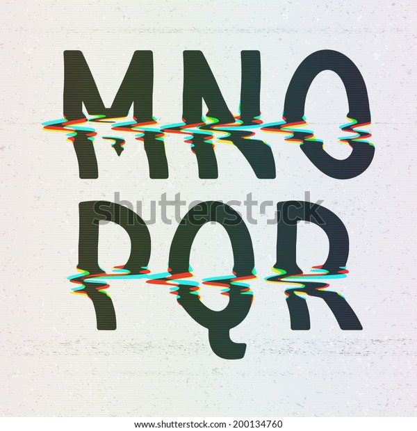 Vector CMYK Print Distortion Glitch Font from M to R