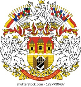 Vector coat of arms illustration of the Czech capital of Prague, Czech Republic