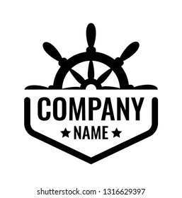 Vector Coat of Arms with ship Steering wheel with copy space for Company name. Logo emblem for travel or marin transportation company. Design template of Badge blazon black color isolated on white.