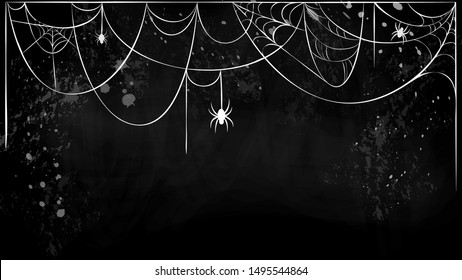 vector cobweb horizontal banner with hanging spiders on black grunge background. white torn spider web silhouette on black chalkboard. Halloween holiday card, banner flyer template with place for text
