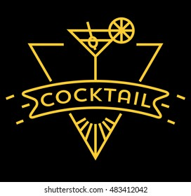 Vector Cocktail Icon with Linear Style