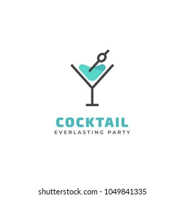 Vector cocktail logo. Design template of vermouth glass for brand, icon, badge or label for bars, pubs and company.