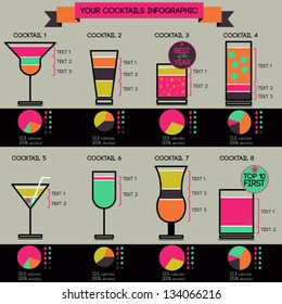 Vector cocktails infographic - set of 8 cocktails recipes