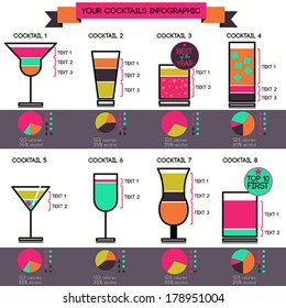 Vector cocktails infographic - set of 8 cocktails recipes, flat style