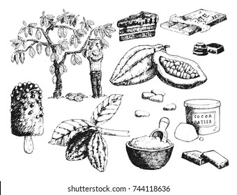 Vector cocoa products hand drawn sketch doodle food chocolate sweet illustration.