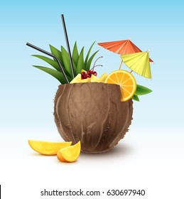 Vector coconut cocktail garnished with maraschino cherry, pineapple wedges, orange slice, black straw tubes and green, pink party umbrellas isolated on background