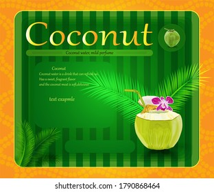 Vector coconut creative banner with text. flowers, Coconut and coconut leaf. Creative shopping poster or label