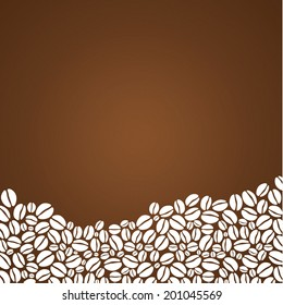 Vector coffee background. Decorative square background with place for your text. Mound composed from stylized coffee beans.