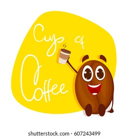 Vector coffee bean on yellow background. Coffee hot cup.
