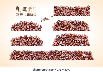 Vector coffee beans background collection with place for your text.
