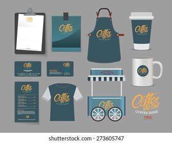 Vector coffee bootsh and restaurant set, T-Shirt, menu, namecard and free symbol design.