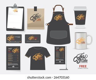 Vector coffee cafe restaurant set, T-Shirt, menu, namecard and free symbol design.