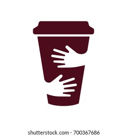 Vector coffee cup and hands logo. Cafe symbol. Unique restaurant logotype design template. Hug cup