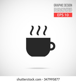 Vector coffee cup icon. Black icon. Modern flat design vector illustration, quality concept for web banners, web and mobile applications, infographics. Vector icon isolated on gradient background