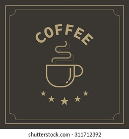 vector coffee cup  logo and label concept design
