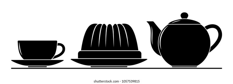 vector coffee cup, pot and bundt cake isolated on white background