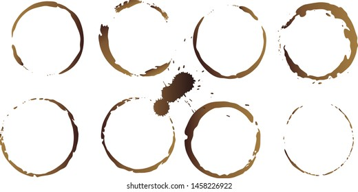 Vector coffee cup stains, Isolated On White Background, tea ring stamps Illustration