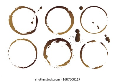 Vector coffee cup stains, isolated on white background, tea round stamps Illustration