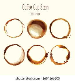 Vector coffee cup stains set