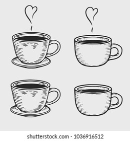 Vector coffee cup or tea cups engraving on light background. Vintage hand drawn bages set. Illustration for menu, ads.