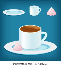 Vector coffee cup with zephyr marshmellow on the plate. Images on isolated blue background. Perfect for cooking games