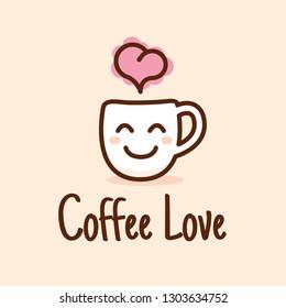 Vector Coffee Cute Logo Design