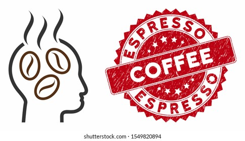Vector coffee dreams head icon and grunge round stamp seal with Espresso Coffee caption. Flat coffee dreams head icon is isolated on a white background.