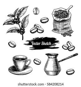Vector coffee hand drawn sketch .  Sketch vector  food illustration. Vintage style