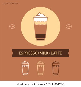 Vector coffee icon and line coffee badge in outline style with trendy emblem for coffee shop sign, coffee house.