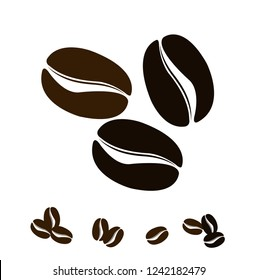 Vector Coffee. Icon set. Isolated coffee beans on white background