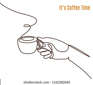 Vector coffee illustration drawn with one line. Hand holding a cup of coffee. Minimalistic style.