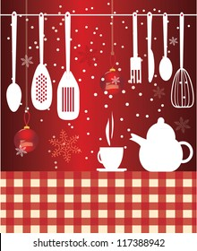 Vector coffee and kettle with christmas background